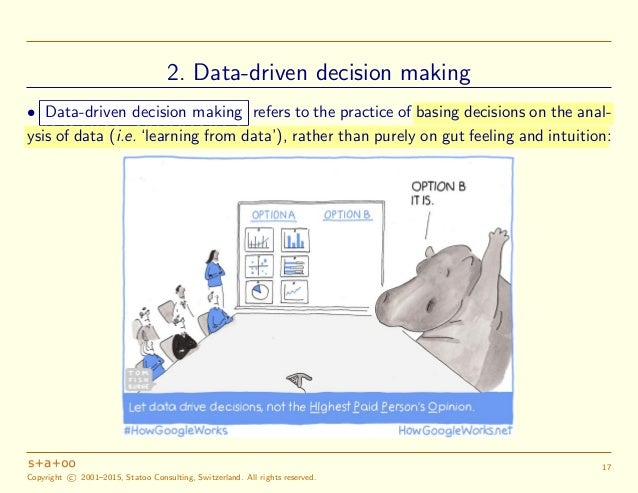 statistics data driven decision making Statistical analysis business analytics is used by companies committed to data-driven decision-making data-driven decision-making business analytics.