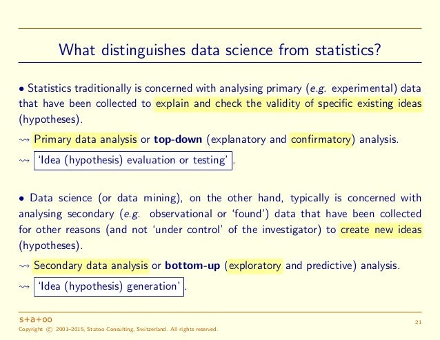 statistics data driven decision making The role of statistics in decision making as a practicing statistician for many years, i find the experience of using some tools of statistics like the t-test rather satisfying, especially if i can use it to aid me in decision making.