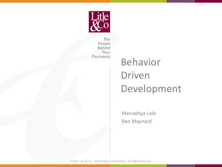 BehaviorDrivenDevelopmentManodnya LeleBen Maynard
