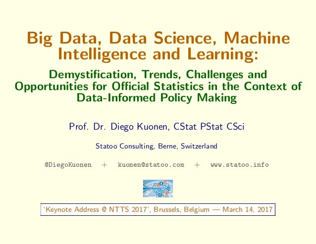 Big Data, Data Science, Machine Intelligence and Learning: Demystification, Trends, Challenges and Opportunities for Official...