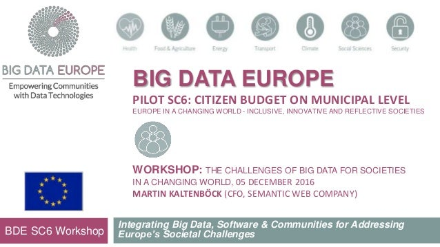 BIG DATA EUROPE PILOT SC6: CITIZEN BUDGET ON MUNICIPAL LEVEL EUROPE IN A CHANGING WORLD - INCLUSIVE, INNOVATIVE AND REFLEC...