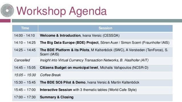 Workshop Agenda 18-janv.-17www.big-data-europe.eu Time Session 14:00 - 14:10 Welcome & Introduction, Ivana Versic (CESSDA)...