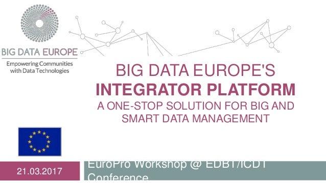 BIG DATA EUROPE'S INTEGRATOR PLATFORM A ONE-STOP SOLUTION FOR BIG AND SMART DATA MANAGEMENT EuroPro Workshop @ EDBT/ICDT C...