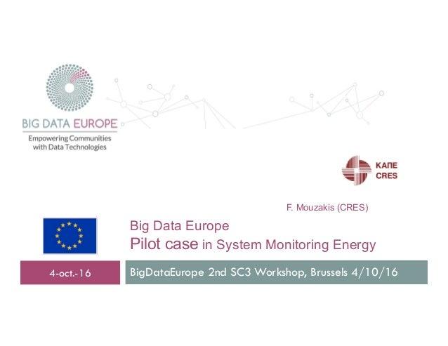 Big Data Europe Pilot case in System Monitoring Energy BigDataEurope 2nd SC3 Workshop, Brussels 4/10/164-oct.-16 F. Mouzak...