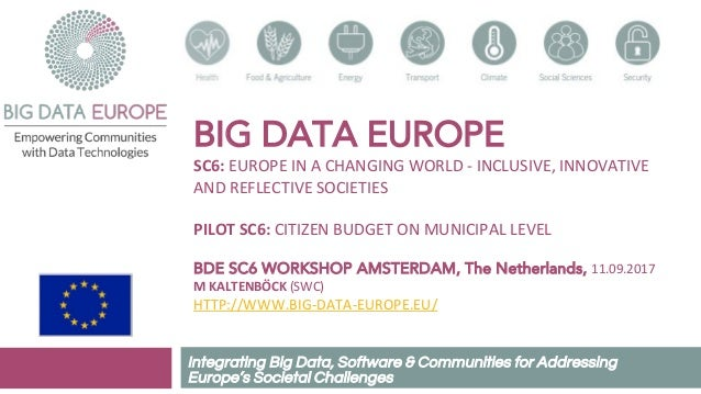 BIG DATA EUROPE SC6: EUROPE IN A CHANGING WORLD - INCLUSIVE, INNOVATIVE AND REFLECTIVE SOCIETIES PILOT SC6: CITIZEN BUDGET...