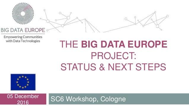 THE BIG DATA EUROPE PROJECT: STATUS & NEXT STEPS SC6 Workshop, Cologne 05 December 2016