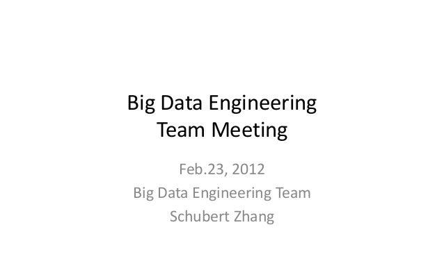 Big Data Engineering Team Meeting Feb.23, 2012 Big Data Engineering Team Schubert Zhang