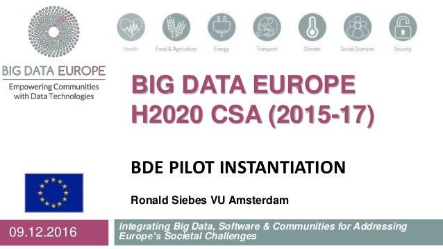 BIG DATA EUROPE H2020 CSA (2015-17) BDE PILOT INSTANTIATION Ronald Siebes VU Amsterdam Integrating Big Data, Software & Co...
