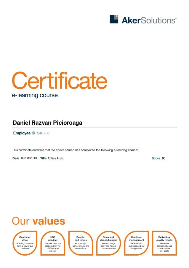 This certificate confirms that the above named has completed the following e-learning course: Date Title ScoreOffice HSE 2...