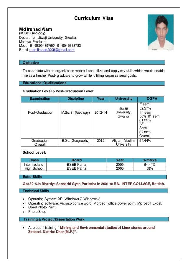 Irshad M.Sc. Geology Resume
