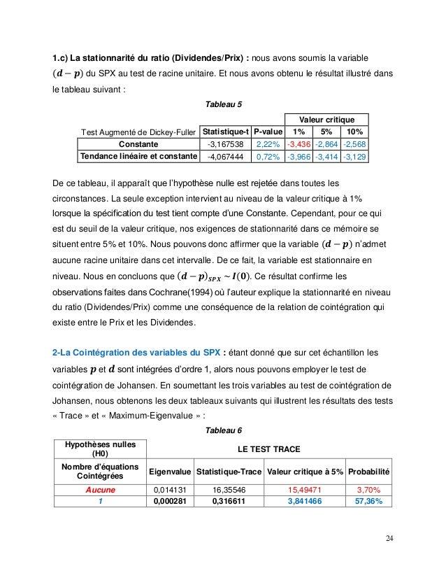 24 1.c) La stationnarité du ratio (Dividendes/Prix) : nous avons soumis la variable ( 𝒅 − 𝒑) du SPX au test de racine unit...
