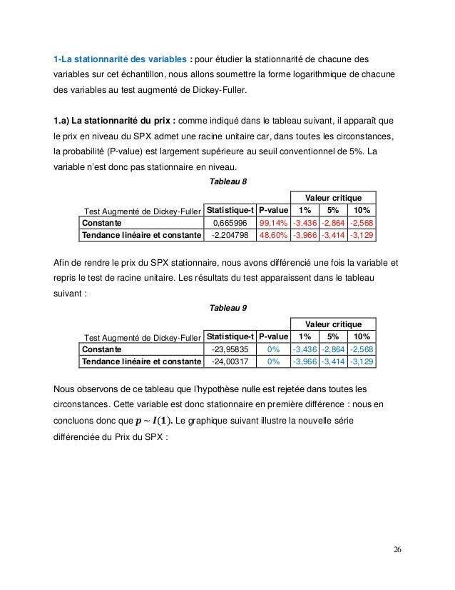 26 1-La stationnarité des variables : pour étudier la stationnarité de chacune des variables sur cet échantillon, nous all...