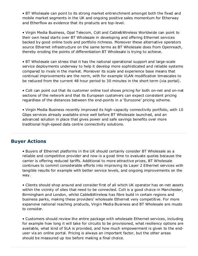 Wholesale Ethernet report