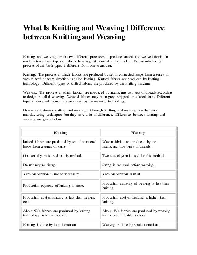 Knitting And Weaving Differences : Bdft ii tmt unit comparison between weaving knitting