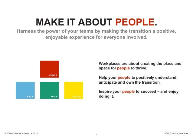 5 BDG_Transition_Slideshare© BDG architecture + design Ltd 2015. MAKE IT ABOUT PEOPLE. Harness the power of your teams by ...