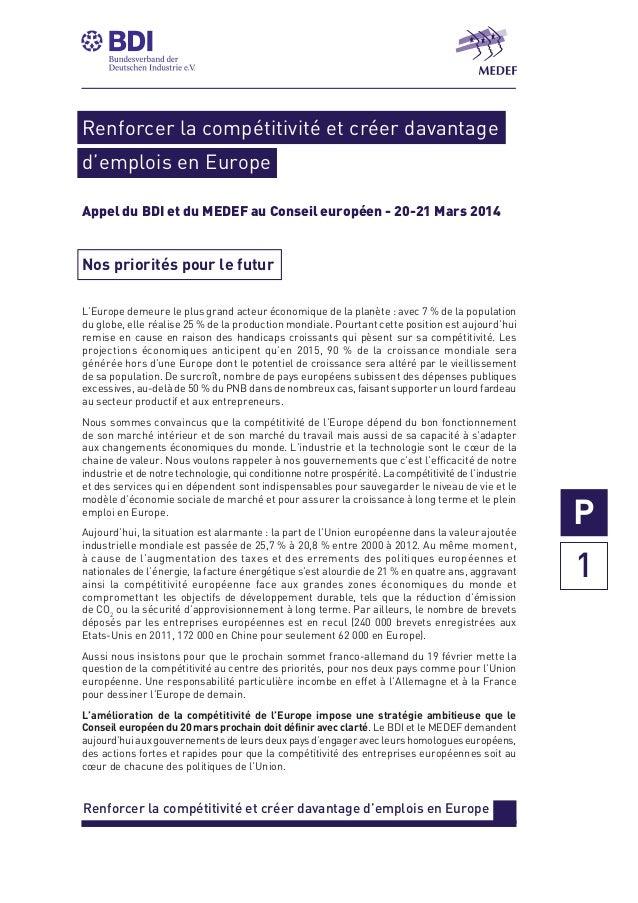 Renforcer la compétitivité et créer davantage d'emplois en Europe Appel du BDI et du MEDEF au Conseil européen - 20-21 Mar...