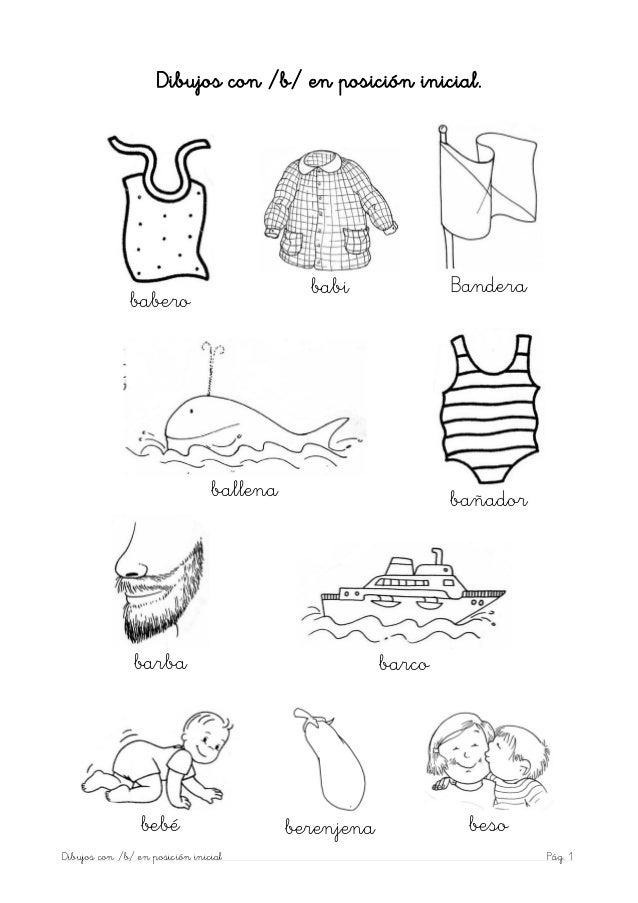 Dibujos con /b/ en posición inicial.                                            babi              Bandera              bab...