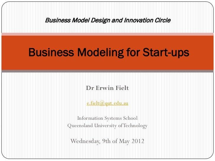 Business Design and Innovation CircleBusiness Modeling for Start-ups                Dr Erwin Fielt                e.fielt@...