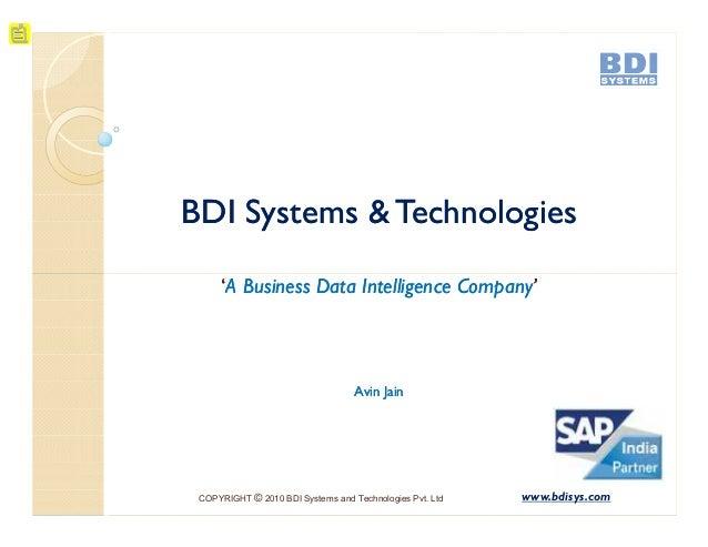BDI Systems & TechnologiesBDI Systems & Technologies ''A Business Data Intelligence CompanyA Business Data Intelligence Co...