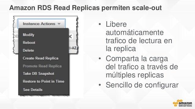 Amazon RDS Read Replicas permiten scale-out • Libere automáticamente trafico de lectura en la replica • Comparta la carga ...