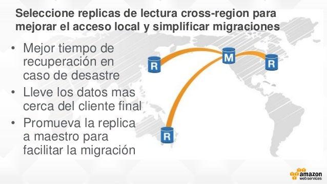Seleccione replicas de lectura cross-region para mejorar el acceso local y simplificar migraciones • Mejor tiempo de recup...
