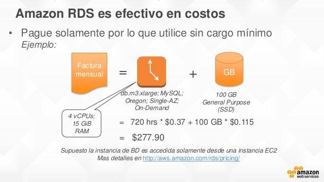 Amazon RDS es efectivo en costos Factura mensual = GB+ Supuesto la instancia de BD es accedida solamente desde una instanc...