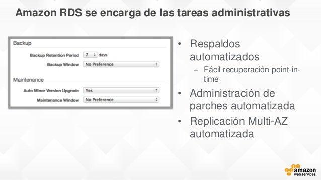 Amazon RDS se encarga de las tareas administrativas • Respaldos automatizados – Fácil recuperación point-in- time • Admini...