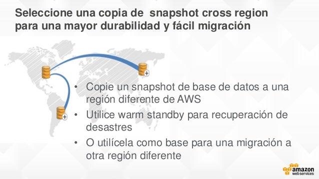 Seleccione una copia de snapshot cross region para una mayor durabilidad y fácil migración • Copie un snapshot de base de ...