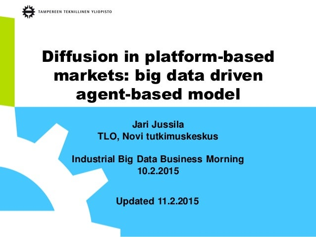 Diffusion in platform-based markets: big data driven agent-based model Jari Jussila TLO, Novi tutkimuskeskus Industrial Bi...