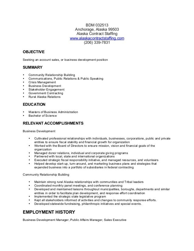 Business Development Manager Resume BSD