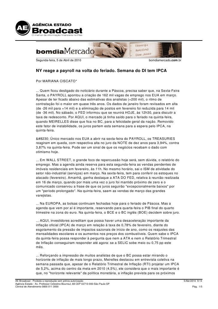 Segunda-feira, 5 de Abril de 2010                                     bomdiamercado.com.br                    NY reage a p...