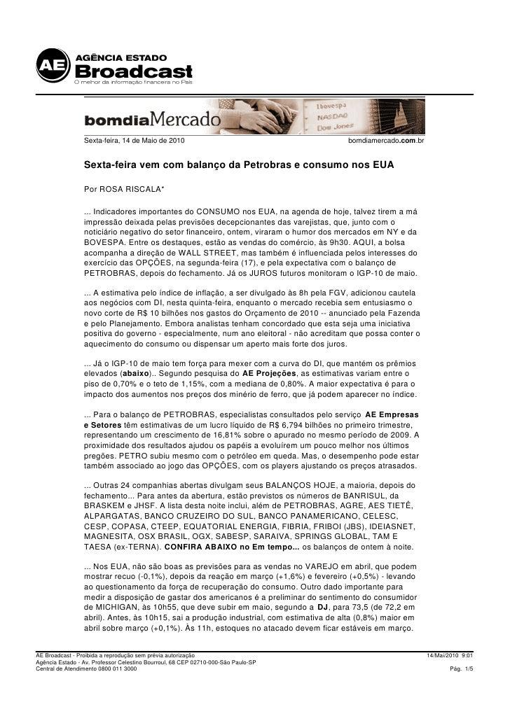 Sexta-feira, 14 de Maio de 2010                                        bomdiamercado.com.br                    Sexta-feira...