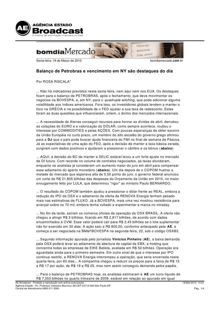 Sexta-feira, 19 de Março de 2010                                      bomdiamercado.com.br                    Balanço de P...