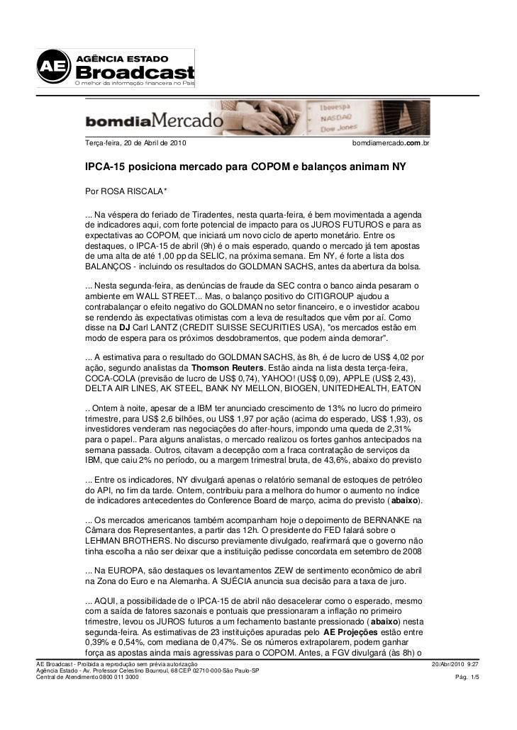 Terça-feira, 20 de Abril de 2010                                      bomdiamercado.com.br                    IPCA-15 posi...