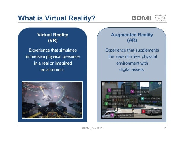 Virtual Reality (VR) Experience that simulates immersive physical presence in a real or imagined environment. What is Virt...