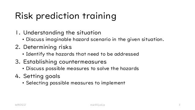 Risk prediction training 1. Understanding the situation • Discuss imaginable hazard scenario in the given situation. 2. De...