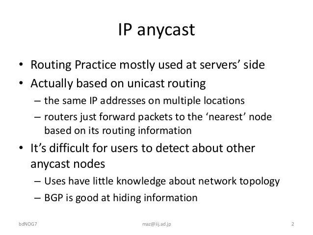 IP anycasting Slide 2