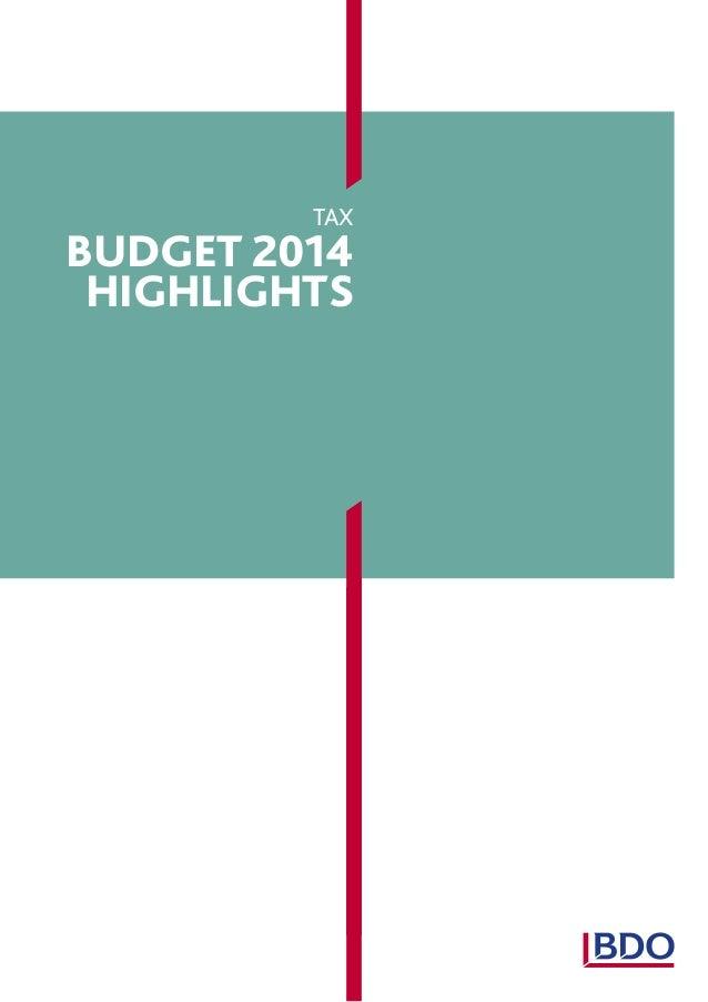 tax  budget 2014 highlights
