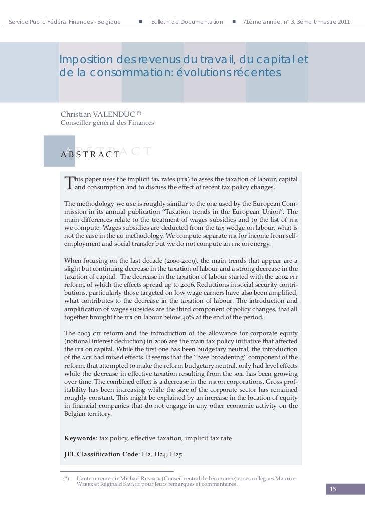 Service Public Fédéral Finances - Belgique          Bulletin de Documentation            71ème année, n° 3, 3éme trime...
