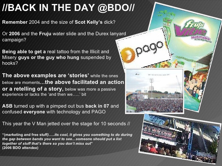 //BACK IN THE DAY @BDO// Remember  2004 and the size of  Scot Kelly's  dick? Or  2006  and the  Fruju  water slide and the...