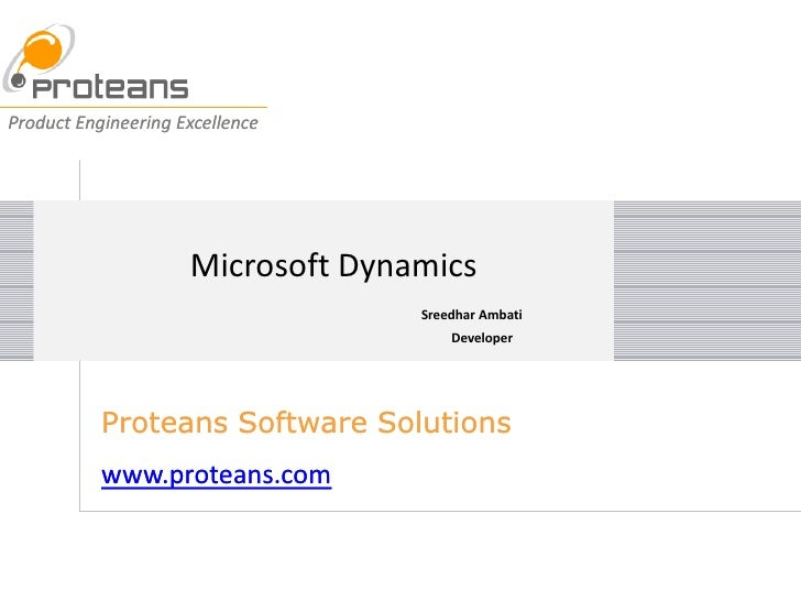 Product Engineering Excellence                          Microsoft Dynamics                                    Sreedhar Amb...