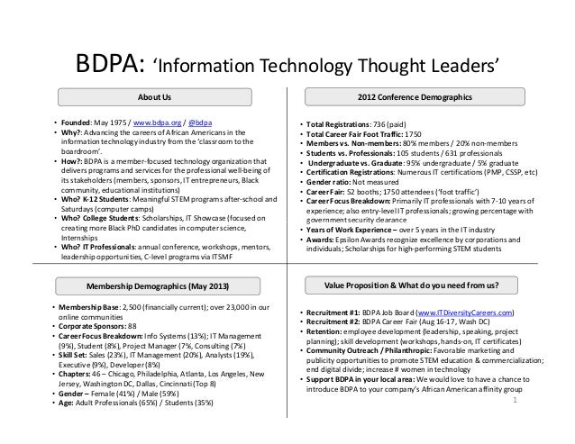 BDPA: 'Information Technology Thought Leaders'2012 Conference DemographicsAbout Us• Total Registrations: 736 (paid)• Total...