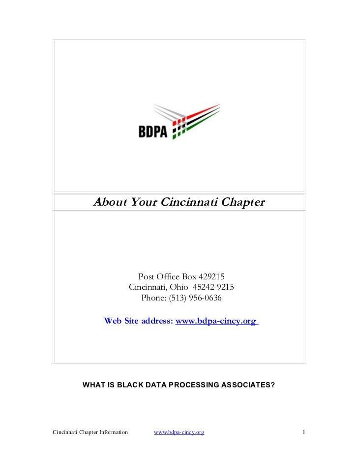 About Your Cincinnati Chapter                                   Post Office Box 429215                                 Cin...