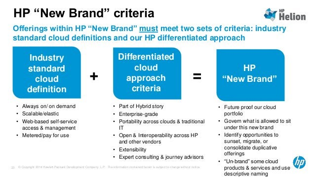 """HP """"New Brand"""" criteria  Offerings within HP """"New Brand"""" must meet two sets of criteria: industry  standard cloud definiti..."""
