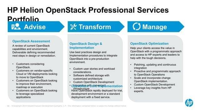 HP Helion OpenStack Professional Services  Portfolio  Advise Transform Manage  OpenStack Design &  Implementation  Use bes...