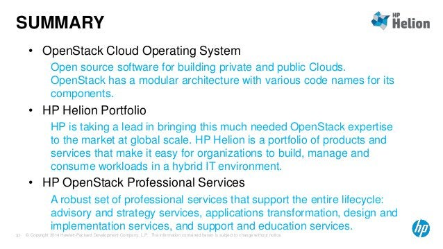 SUMMARY  • OpenStack Cloud Operating System  Open source software for building private and public Clouds.  OpenStack has a...