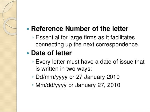 business letter reference