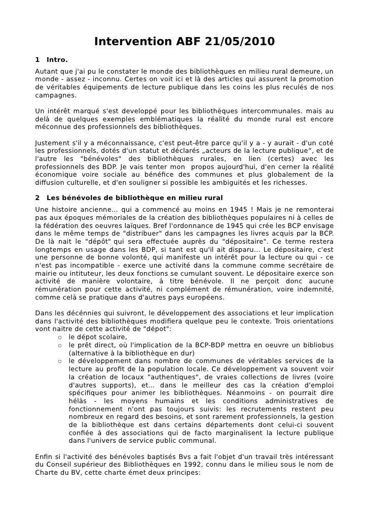 Intervention ABF 21/05/2010 1 Intro. Autant que j'ai pu le constater le monde des bibliothèques en milieu rural demeure, u...