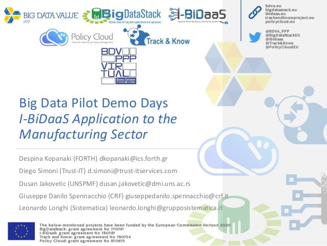 Big Data Pilot Demo Days I-BiDaaS Application to the Manufacturing Sector Despina Kopanaki (FORTH) dkopanaki@ics.forth.gr ...