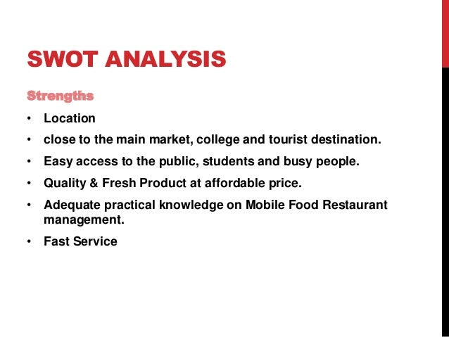 Bdp of food truck for Swot analysis for t shirt business